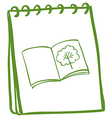 A green notebook with an image of a book at the vector image vector image