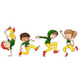 A sketch of the dancers with green and yellow vector image vector image