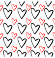 Abstract seamless pattern of hand drawing hearts
