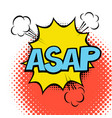 Asap colorful speech bubble with lightning comic