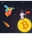 banner with spaceman on the bitcoin moon vector image vector image