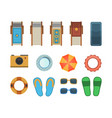 beach vacation accessories isolated set vector image
