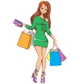 Beautiful girl with shopping bags vector image