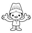 black and white funny chef mascot welcome vector image vector image