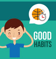 boy and girl healthy good habits vector image vector image
