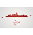 Burgos skyline in red vector image vector image