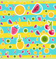 cartoon fruits stickers seamless pattern vector image vector image