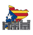 catalonia barcelona with flag map and buildings vector image