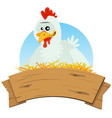 chicken nest and wood banner vector image