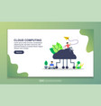 cloud computing concept with tiny people vector image vector image