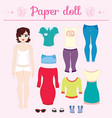 dress up paper doll with big head pants vector image