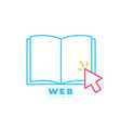 ebook with mouse cursor arrow and lines open book vector image