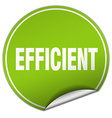 efficient round green sticker isolated on white vector image vector image