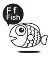 F Fish cartoon and alphabet for children to vector image vector image