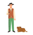 farmer with dog isolated cartoon character in hat vector image