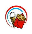 Fast foods icon with crispy French fries and ice vector image vector image