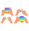 fidget simple dimple and pop it toys kids hands vector image vector image