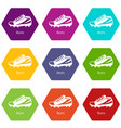 football boots icons set 9 vector image vector image