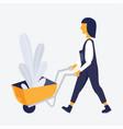 gardening farm woman vector image vector image