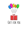 gift in box colorful balloon birthday vector image vector image