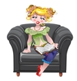 Girl read book on the black armchair vector image vector image