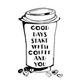 Grungy hand drawn ink paper cup to go take away vector image vector image