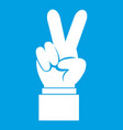 hand with victory sign icon white vector image vector image