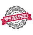 happy hour specials stamp sign seal vector image vector image