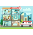 Hospital medical clinic building ambulance with vector image vector image