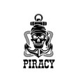 jolly roger pirate skull piracy anchor icon vector image vector image