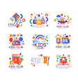 kids club logo original set colorful creative vector image vector image