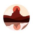 landscape nature peak mountain sun reflection in vector image vector image