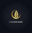 leaf organic eco gold logo vector image