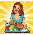 Lifestyle young woman and a fast food lunch in the vector image vector image