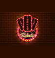 light sign ticket booth brickwall background vector image vector image