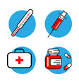 medicine and health symbols thin lines web icon vector image