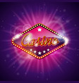 on a casino theme with shiny caption sign display vector image vector image
