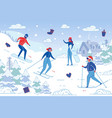 people skiing and snowboarding on mountain resort vector image