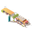 petrol station and road cafe isometric vector image vector image