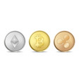 realistic crypto currency coin icon set vector image