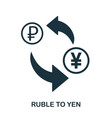 ruble to yen icon mobile app printing web site vector image vector image