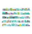 set of architecture town buildings city long vector image vector image