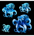 Set of old blue octopuses on a black background vector image vector image