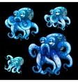 Set of old blue octopuses on a black background