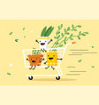 shopping cart with plants vector image vector image