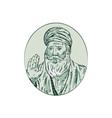 Sikh Guru Priest Waving Etching vector image vector image