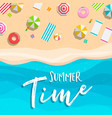 summer time card tropical beach vacation vector image
