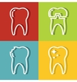 Tooth white line icons on color background vector image vector image