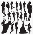 wearing stylish clothes silhouettes vector image
