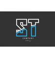white blue alphabet letter st s t logo icon design vector image vector image